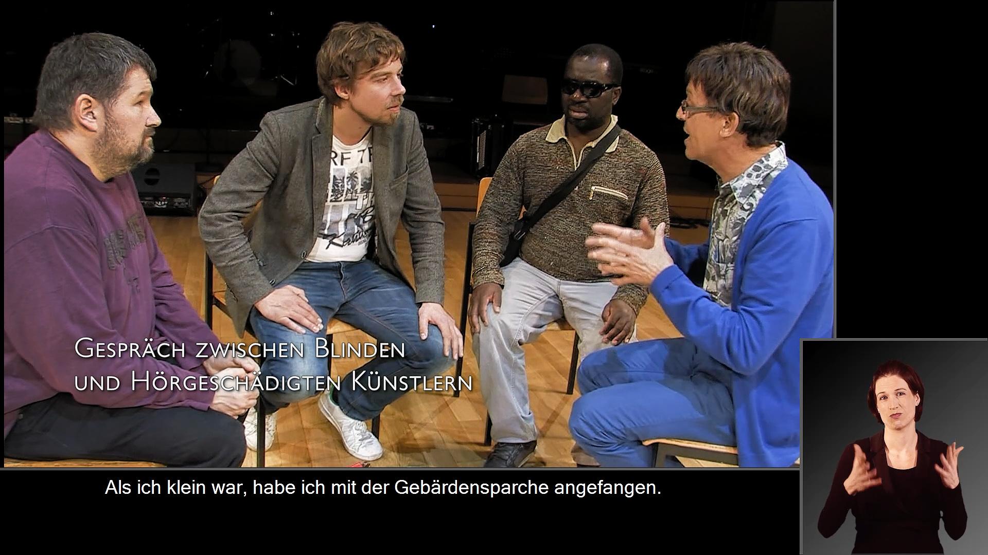 Gespräch zwischen blinden und hörgeschädigten Künstlern